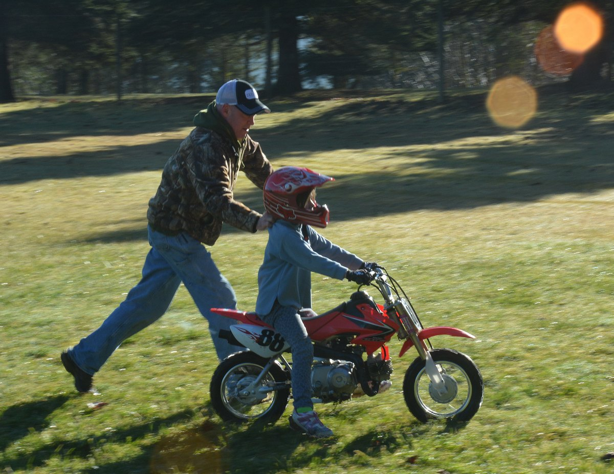 Rodney gets his morning exercise - from the Dirt Biking with Miriam and Rodney photo gallery.