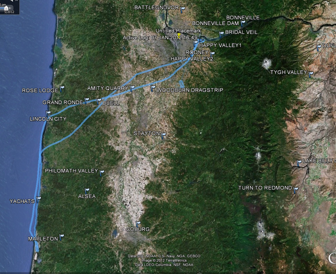 Our overall route Troutdale to Florence and back - from the Flying to Florence May 2012 photo gallery.