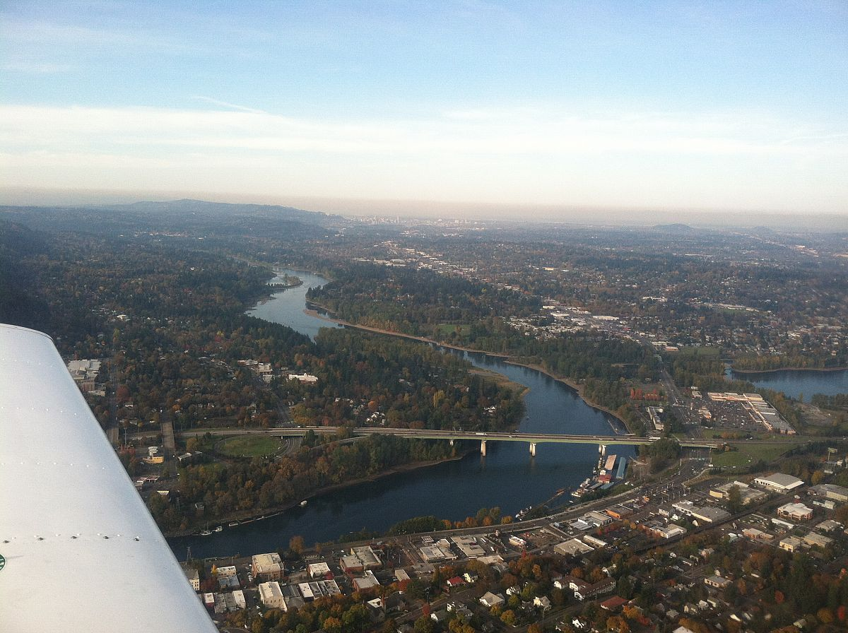 Over Oregon City, downtown Portland in the distance - from the Flying to Mulino Nov 2011 photo gallery.