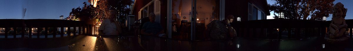 Nighttime panorama, Gary and RaeAnn's back deck - from the Fourth of July 2014 photo gallery.