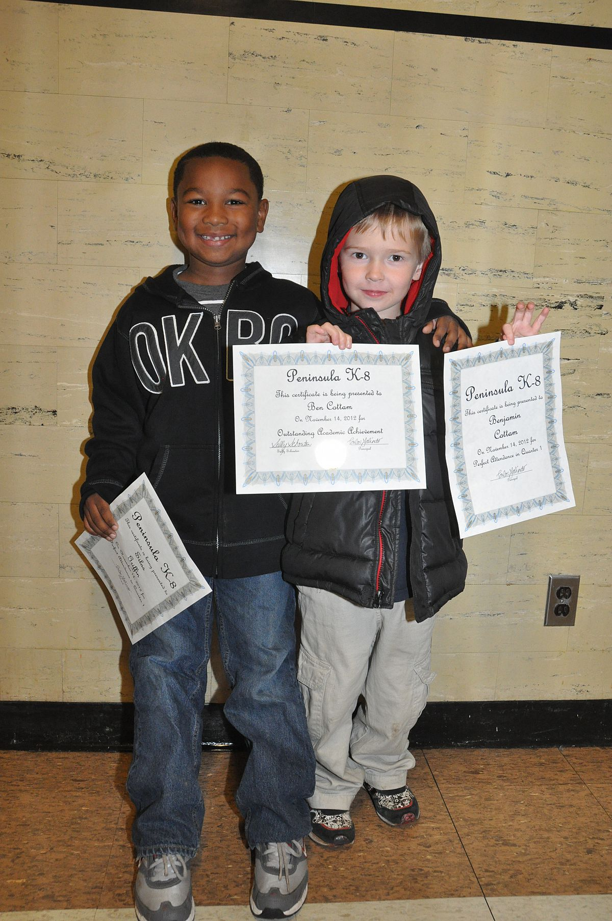 Ben with Silas and their awards - from the Peninsula School Awards Fall 2012 photo gallery.