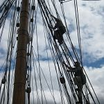Climbing the rigging....apparently those sails don't come with a remote