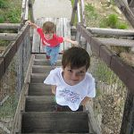 Bradley and Benjamin climb a lookout tower